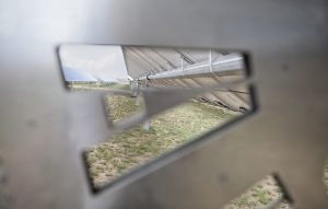 "Looking Through the ""A"" in the Logo on Array Tech's Solar Tracker"