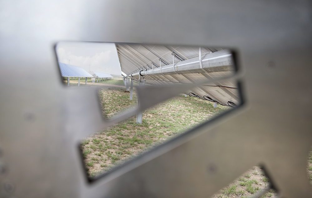"""Looking Through the """"A"""" in the Logo on Array Tech's Solar Tracker"""